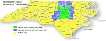 Case Closed Bail Bonds Coverage Map